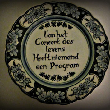 Vintage German Dutch Tile Sayings Plate, German Ceramic, German Pottery, Floral design, Home Decor, Collectible Plate, Cottage Chic