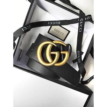 GUCCI Fashion Boys Girls Stylish GG Pearl Smooth Buckle Leather Belt