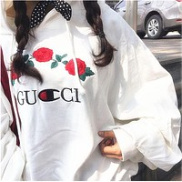 White GUCCI Embroidered Rose Flower Hoodie Sweatershirt