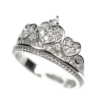 Sterling Silver and Cubic Zirconia Crown Amore Heart Ring S&J