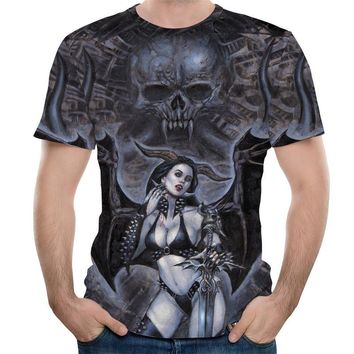 Unisex Adult Hipster 3D T-shirt Tees Funny Eagle / Lions / Skull / Boss Dog / Wolf / King Queen Prints TShirts Hip Hop Tops