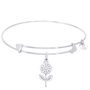 Sterling Silver Sweet Bangle Bracelet With Daisy Charm