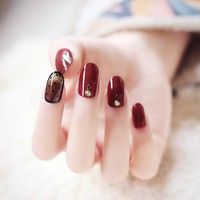 24pcs/set Korean style black wave point Deep red wine full set of fake nail false Resin Artificial nails with glue Nail art A203