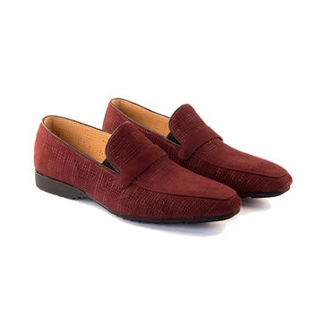 Fedele - Slip On Loafer In Burgundy Woven Calf Leather