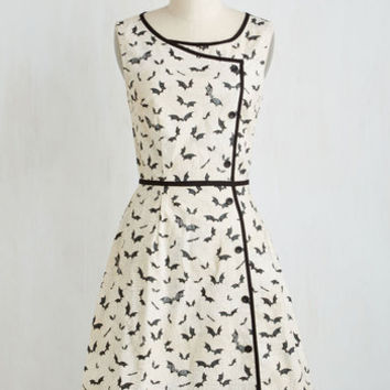 Quirky Long Sleeveless A-line Bat's the Spirit! Dress