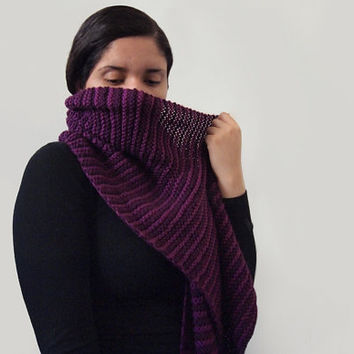 hand knit wide striped vegan grape and raspberry scarf