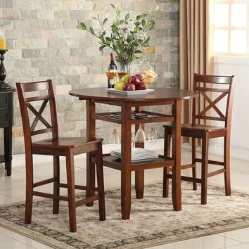 Acme 72535-37 3 pc Tartys cherry finish wood round counter height drop leaf bar table and stools