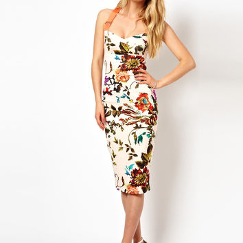 Ted Baker | Ted Baker Floral Midi Dress with Contrast Straps at ASOS