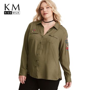 kissmilk 2018 Plus Size Solid Army Green Women Blouses Floral Embroideried Pocket Female Clothing Big Size Lady Casual Shirts