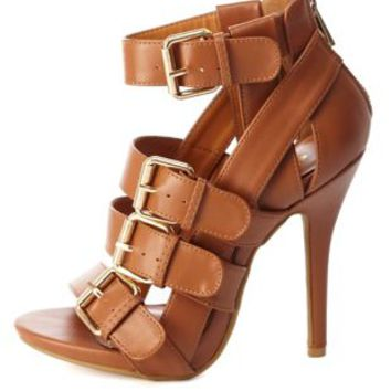 Buckled &amp Belted Strappy High Heels by from Charlotte Russe