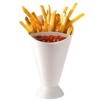 DCCKL72 White Color Plastic Material Cup with Saucer Set Kitchen Potato Tool Tableware French Fry Cone with Dipping Cup