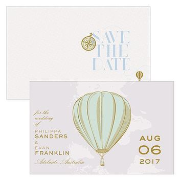 Vintage Travel Save The Date Card With Fold (Pack of 1)