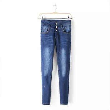 Pants Summer Skinny Pants High Rise Rinsed Denim Slim Jeans [4919991172]