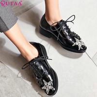 QUTAA 2017 Women Pumps Summer Ladies Shoes Low Heel PU Leather Lace Up Rhinestone Black Woman Wedding Shoes Size 34-43