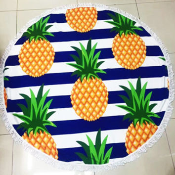 Fun Printed Pineapple Stripes Microfiber Large Round Beach Towel Blanket with Fringe Beach Vacation Summer