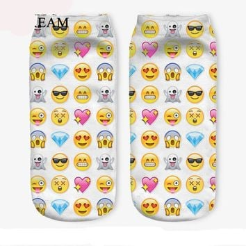 7 Colors Lovely Smiling Face Print Socks Funny Crazy Cool Novelty Cute Fun Funky Colorful