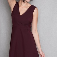Win Win Apparel Sleeveless V-Neck A-Line Fit & Flare Dress With Back Cut Out - Burgundy