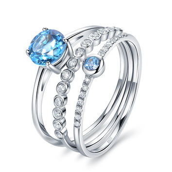 Dream Girl 1.3ct Swiss Blue Topaz Birthstone Sterling Silver Stackable Rings
