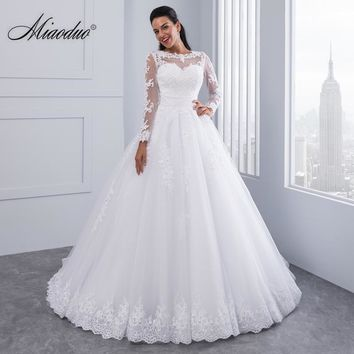 Miaoduo Ball Gown Wedding Dresses 2018 New Detachable train Lace Appliques Pearls Bridal Gowns Crystal Sashes Vestido De Novias