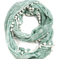 ModCloth Pom It Up Circle Scarf in Mint