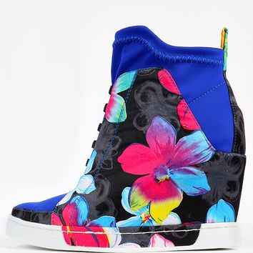 Privileged Rowe Floral Wedge Sneakers
