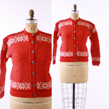 50s Hand Knit NORWEGIAN CARDIGAN / 1950s Red & Ivory Snowflake Norway Cardi SWEATER, s-m