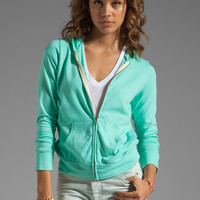 Monrow White Fleece Zip Up Hoodie in Neon Mint from REVOLVEclothing.com