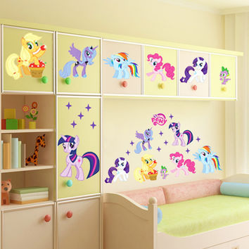 My Little Pony Wall Stickers For Kids Rooms Children On The Wall Removable PVC Vinyl DIY Background Wall Decals Decor HSP-1002