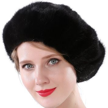Valpeak Women Winter Berets Real Mink Tail Fur Hat