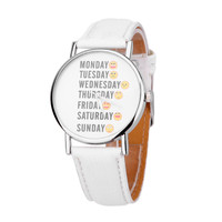 Casual Leather Emoji Design Watches