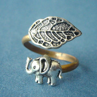 Silver elephant ring with a leaf wrap ring by stavroula on Etsy