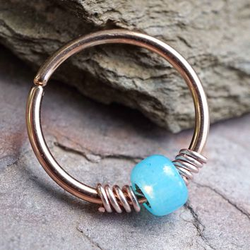 16g 18g or 20 Gauge Rose Gold Beaded Bright Blue Nose Hoop Ring or Helix Tragus Cartilage Hoop Earring