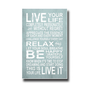Life Art Print. Motivational Print with a Vintage Look.
