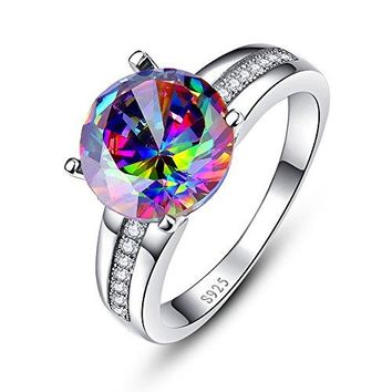 BONLAVIE 925 Sterling Silver Solitaire Engagement Ring with 10x10mm Round Cut Created Mystic Rainbow Topaz