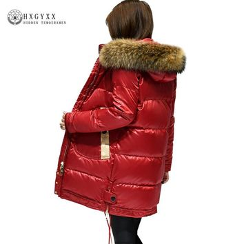 winter Jacket woman white duck down coat goose feather jackets warm Fur Collar Hooded down parka 2017 new Female outwear MK0028