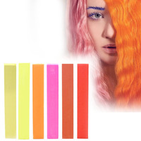 GIRLIE | A pack of 6 Hair Chalks for your highly vibrant hair coloring - beige, yellow, orange, pink, coral & red!
