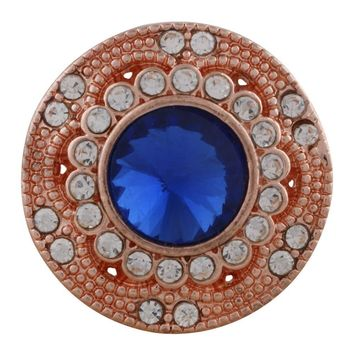 "Snap Charm Rose Gold Blue Stone Clear Crystals 21mm 3/4"" Diameter Standard Size Fits Ginger Snaps"