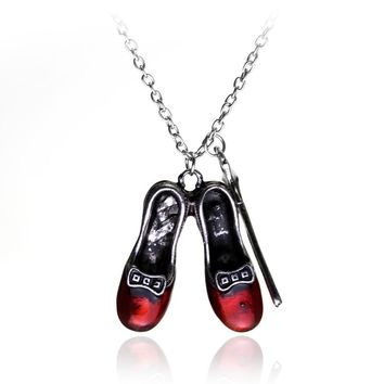MQCHUN Wizard of Oz Alice in wonderland Sexy Red Shoes and Magic Wand Stars Charm necklace Girls and women jewelry