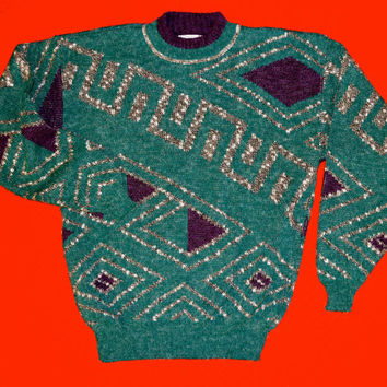Vintage Retro Sweater, ugly christmas sweater, Teal, 80's halloween costume, mens