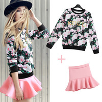 Floral Print Long Sleeve Ribbed Sweater With Flounced Mini Skirt