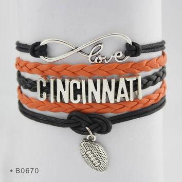 Infinity Love Football Bracelet - Cincinnati Football