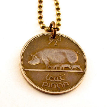 coin necklace IRELAND IRISH Eire Sow Pig Pendant by PartsForYou
