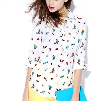 White Patterned Sleeve Collared Shirt