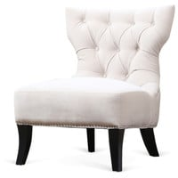 Emelie Tufted Slipper Chair, Ivory, Accent & Occasional Chairs
