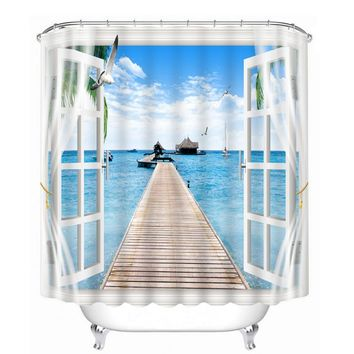 New 3D Shower Curtains Window Sea View Pattern Bathroom Curtains Waterproof Thicken Washable Bathroom Products + 12 C Type Hooks