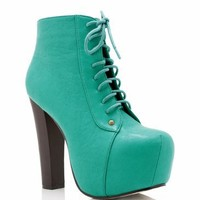 lace-up leatherette platform $48.00 in BLACK CAMEL CORAL FUCHSIA SEAGREEN - Heels | GoJane.com