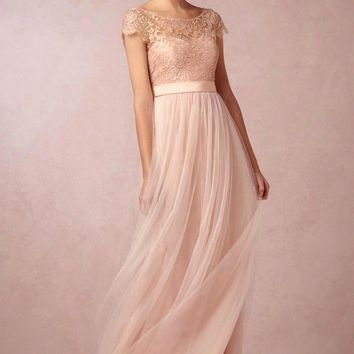 Cheap Cap Sleeves Blush Pink Lace Tulle Open Back Long Bridesmaid Dresses 2017 Backless Summer Wedding Party Dress vestido longo