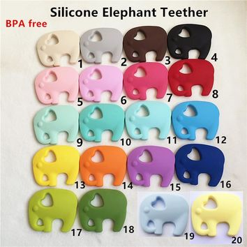 Chenkai 5PCS BPA Free DIY Baby Shower Silicone Elephant Pacifier Teether Dummy Nursing Sensory toy Accessories