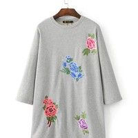fashion embroidery patch flannel dress