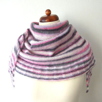 knit scarf wrap shawl with black pink white violet stripes